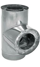 Тройник для дымохода для бани, 90°, 2-контурный, D130/260мм - компания ИТС