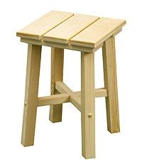 Табурет из лиственных пород дерева, 0,30х0,30х0,45м - мебель для бани - компания ИТС