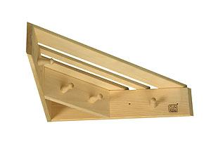 Полка-вешалка для бани угловая 0,46х0,46х0,11 из лиственных  пород бытового назначения - компания ИТС
