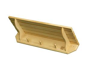 Полка-вешалка для бани настенная 0,6х0,21х0,11 из лиственных  пород бытового назначения - компания ИТС