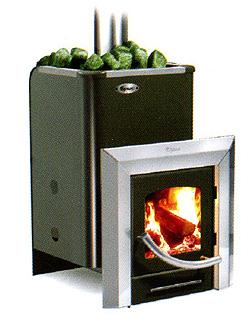 """Печь для бани """"Ермак 16 ПС"""" дровяная универсальная, с панорамным стеклом, черная - компания ИТС"""