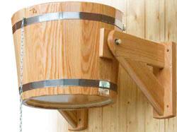 Обливное устройство, опрокидывающееся ведро для сауны и бани (лиственница) - компания ИТС
