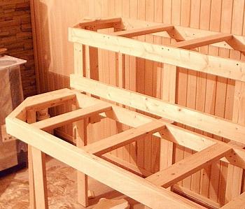 Изготовление из липы каркаса (ножки, опоры) для полков в баню, 2 или 3 уровня, на площадь полков - компания ИТС