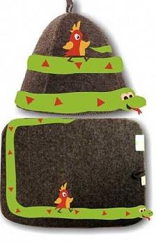 """Комплект войлочный """"38 попугаев"""" (шляпа модельная + коврик) серый комбинированный - компания ИТС"""