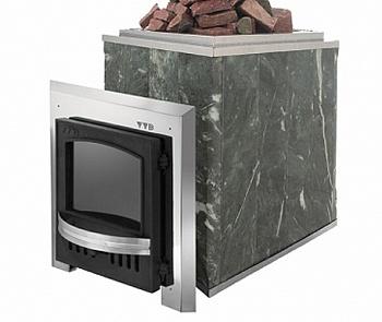 """Печь для бани """"Калита"""" (талькохлорид), дверца нерж. сталь, с чугунным тоннелем, дровяная каменка в облицовке - компания ИТС"""
