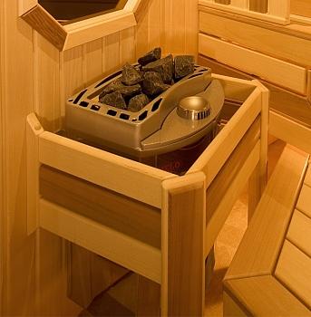 Изготовление из абаша и кедра простого ограждения для печи в сауну шириной 200 мм - компания ИТС