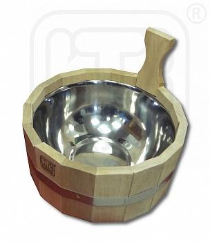 Шайка (ушат) для бани и сауны 3л с нержавающей вставкой, деревянная,из лиственных пород - компания ИТС