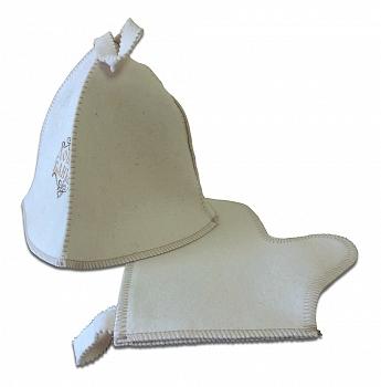 """Комплект """"Банное приданое"""" (шляпа с вышивкой + рукавица) - компания ИТС"""