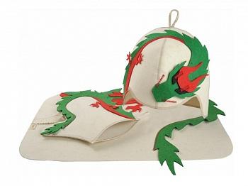 """Комплект для бани """"Крадущийся дракон"""" (шапка, рукавица, коврик) - компания ИТС"""