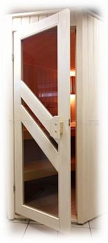 Дверь для бани и сауны с окнами ПЛ 35 Л, размер по коробке 1,90 х 0,70 м - компания ИТС
