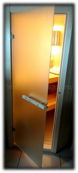 Дверь для сауны стеклянная ПЛ 44 Л (сатин-матовая полупрозрачная), размер по коробке 1,90 х 0,70 м - компания ИТС