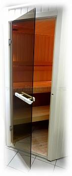 Дверь для сауны стеклянная ПЛ-40Л (бронза), размер по коробке 0,70 х 1,90 м - компания ИТС