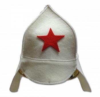 """Шляпа-колпак для бани фетровая модельная """"Буденовка"""" (белая) - компания ИТС"""