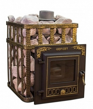 Печь для бани Гефест ПБ-04МС (сетка,малая дверца), чугунная дровяная печь, 18 м3 - компания ИТС