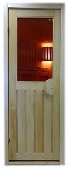 Дверь для бани и сауны с окном ПЛ 33 Л, размер по коробке 1,90 х 0,70 м - компания ИТС