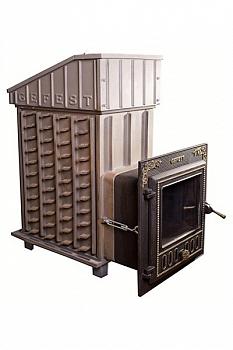 Печь для бани Гефест ПБ-03П ЗК (закрытая каменка), чугунная дровяная печь, дверца-панорама, 25 м3, с коробом - компания ИТС